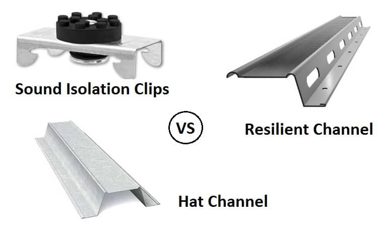 Sound Isolation Clips vs Resilient Channel vs Hat Channel
