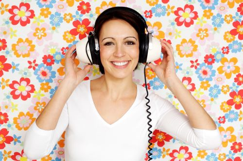 soundproof wallpaper with woman and headphones
