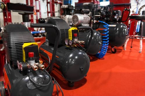air compressors in show room
